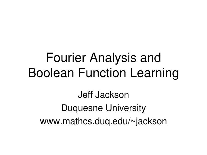 Fourier Analysis and