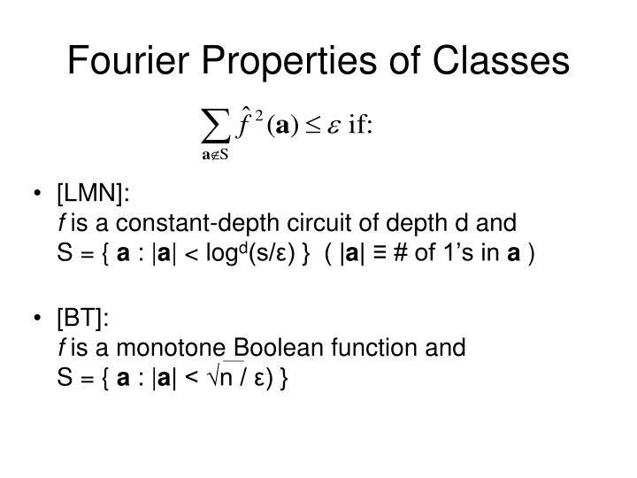 Fourier Properties of Classes
