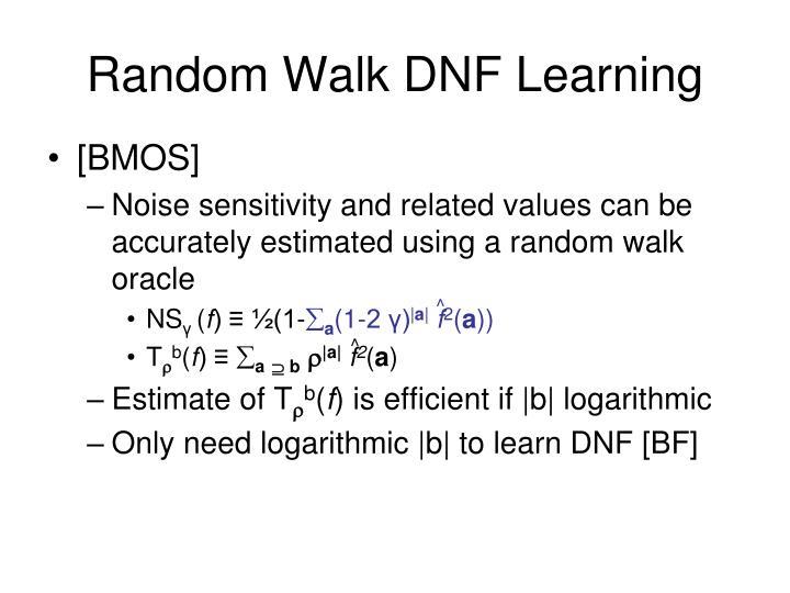 Random Walk DNF Learning