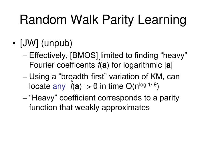 Random Walk Parity Learning