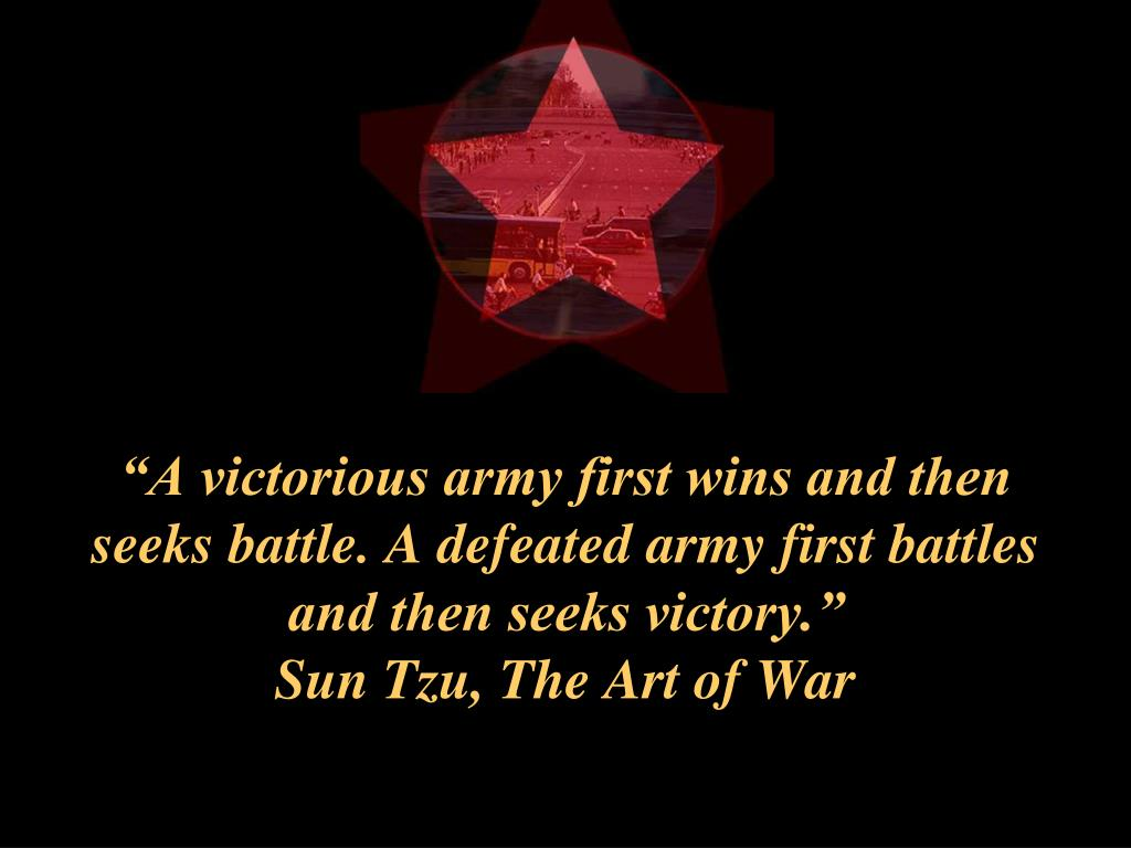 """A victorious army first wins and then seeks battle. A defeated army first battles and then seeks victory."""