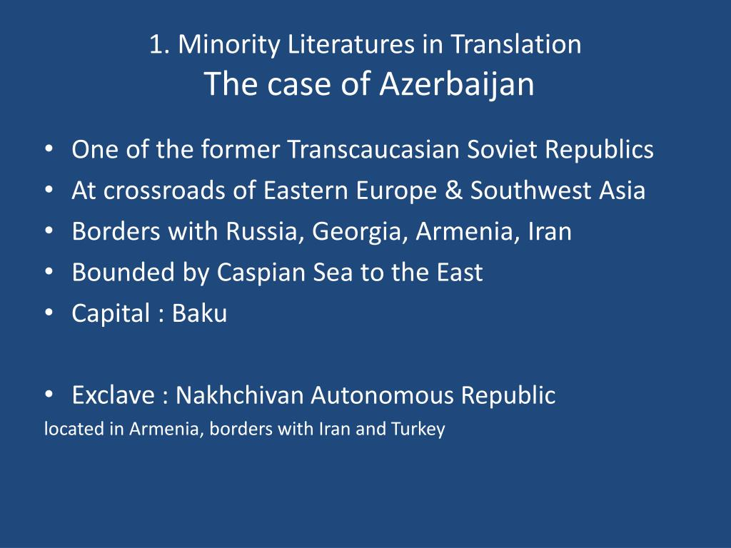 1. Minority Literatures in Translation