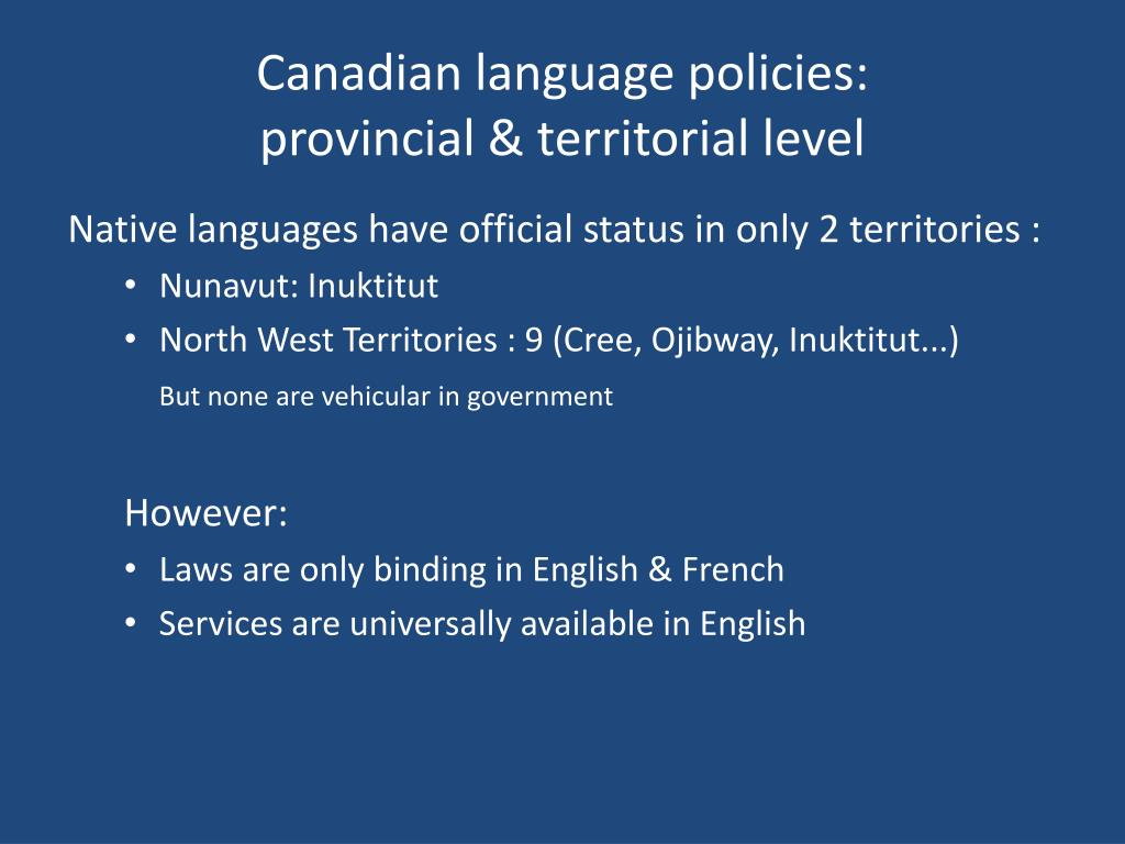 Canadian language policies: