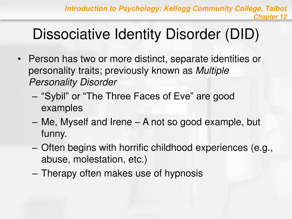 case study of someone with dissociative identity disorder Dissociative identity disorder (did, mpd) - part 1 - duration: 6:29 dimitri putilin 433,812 views 6:29 dissociative identity disorder: it is very real.