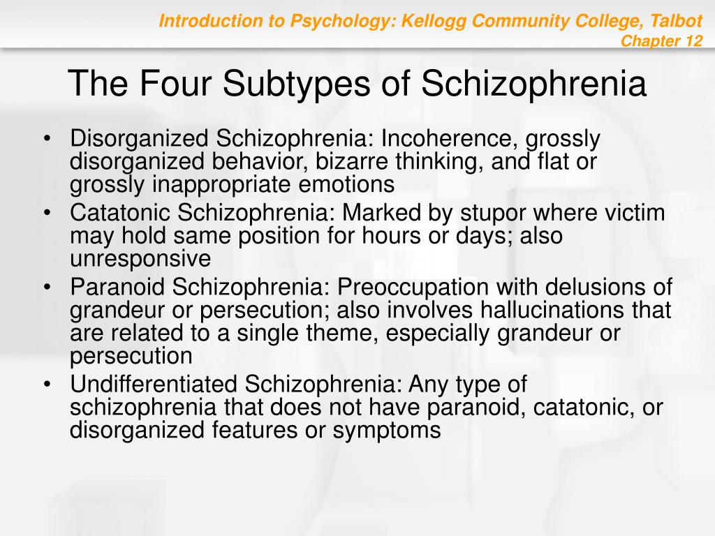 The Four Subtypes of Schizophrenia