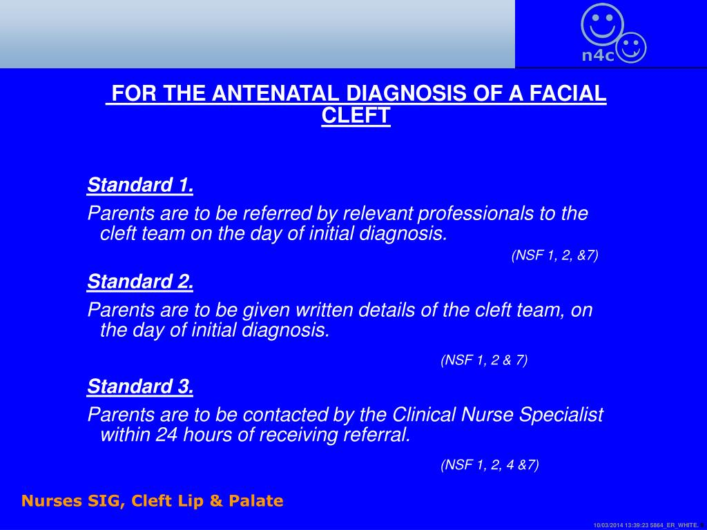 FOR THE ANTENATAL DIAGNOSIS OF A FACIAL CLEFT