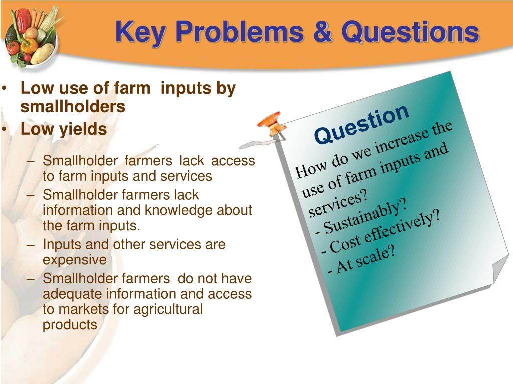 Low use of farm  inputs by smallholders