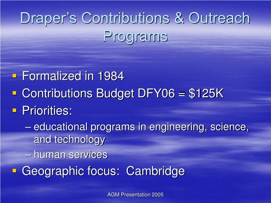 Draper's Contributions & Outreach Programs