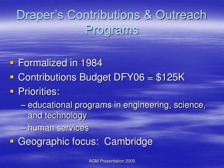Draper s contributions outreach programs