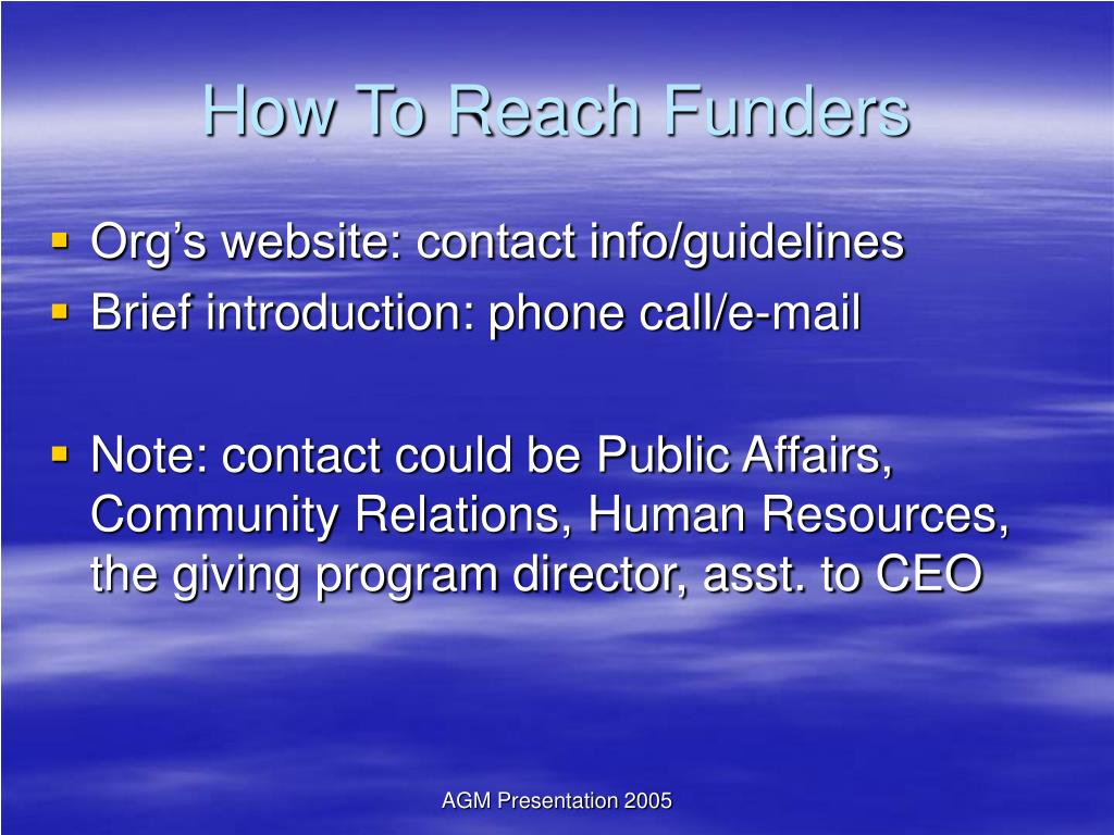 How To Reach Funders
