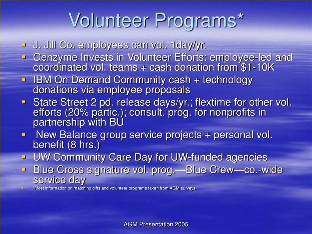 Volunteer Programs*