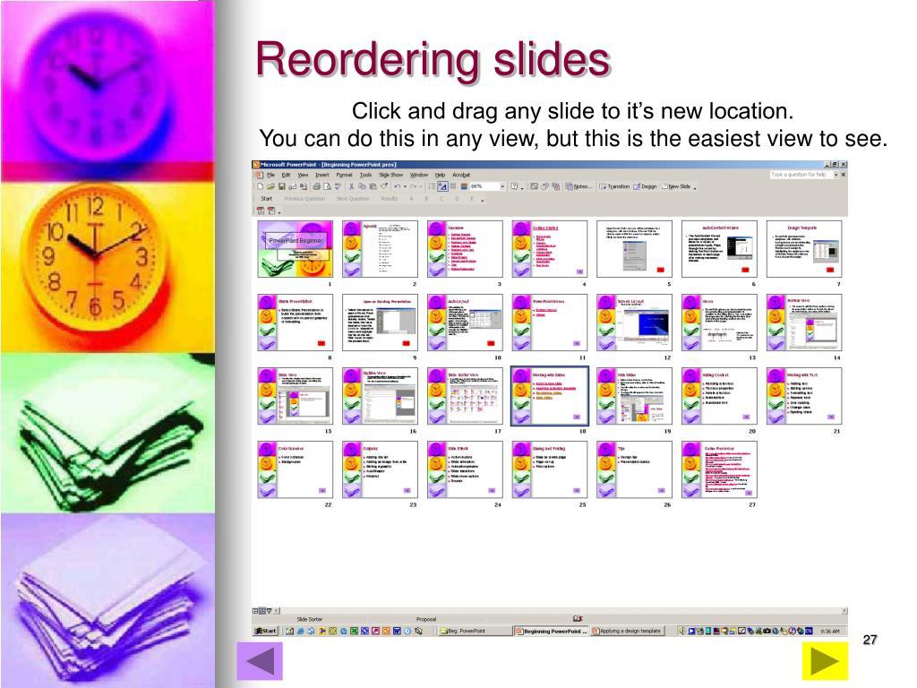 Reordering slides