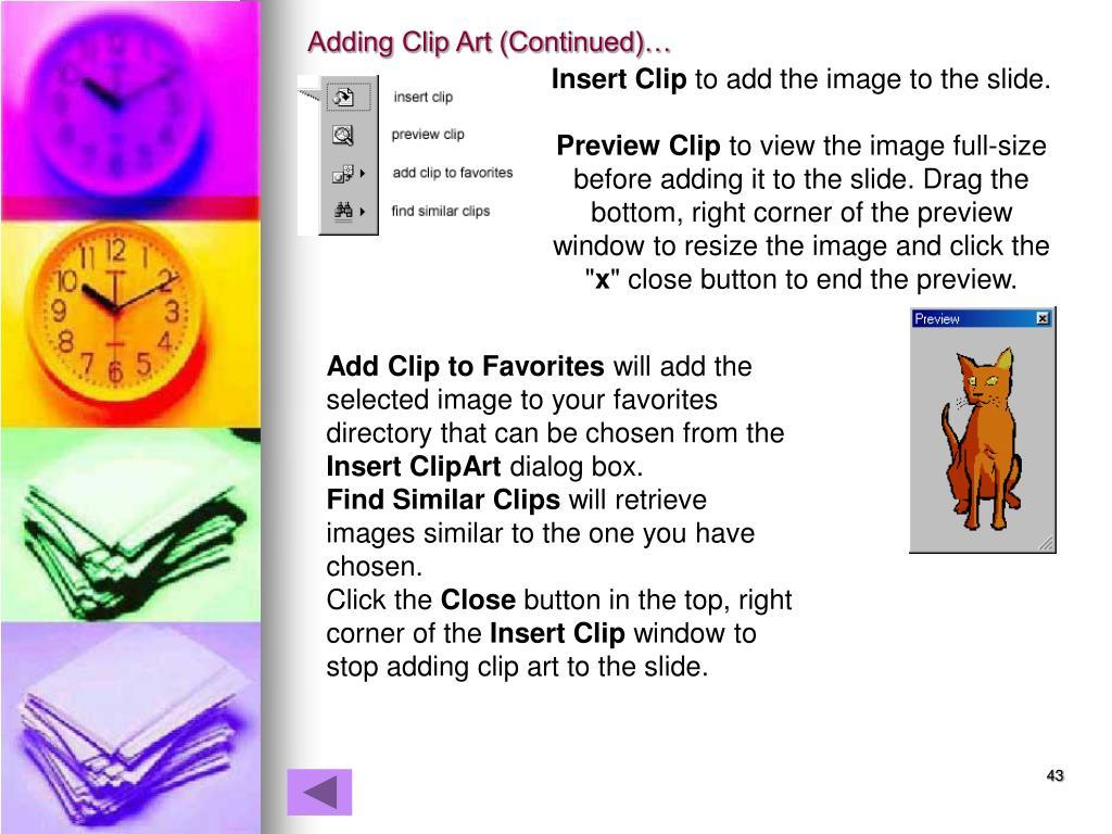 Adding Clip Art (Continued)…