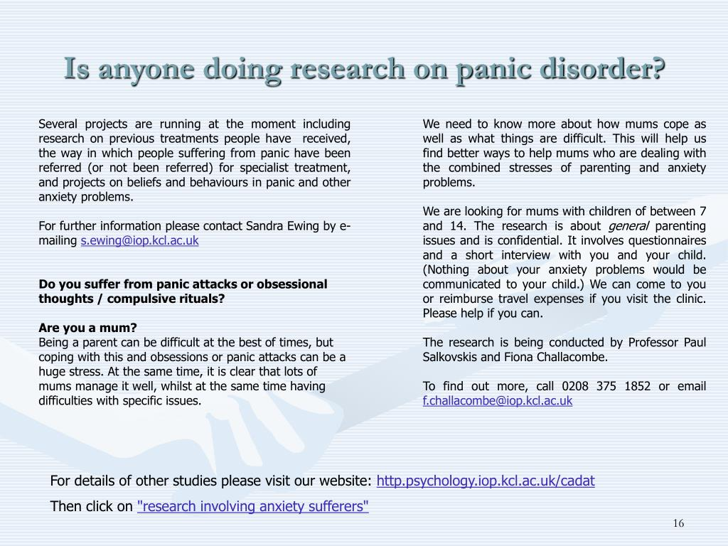 Is anyone doing research on panic disorder?