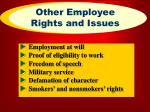 other employee rights and issues