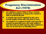 pregnancy discrimination act 1978