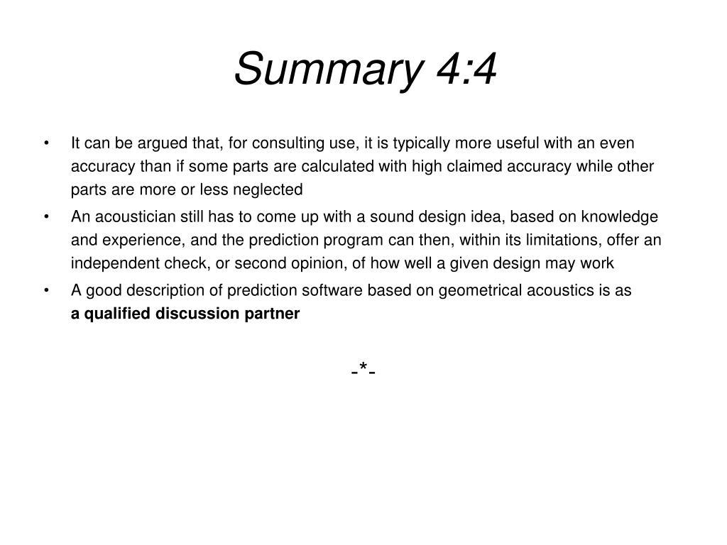Summary 4:4