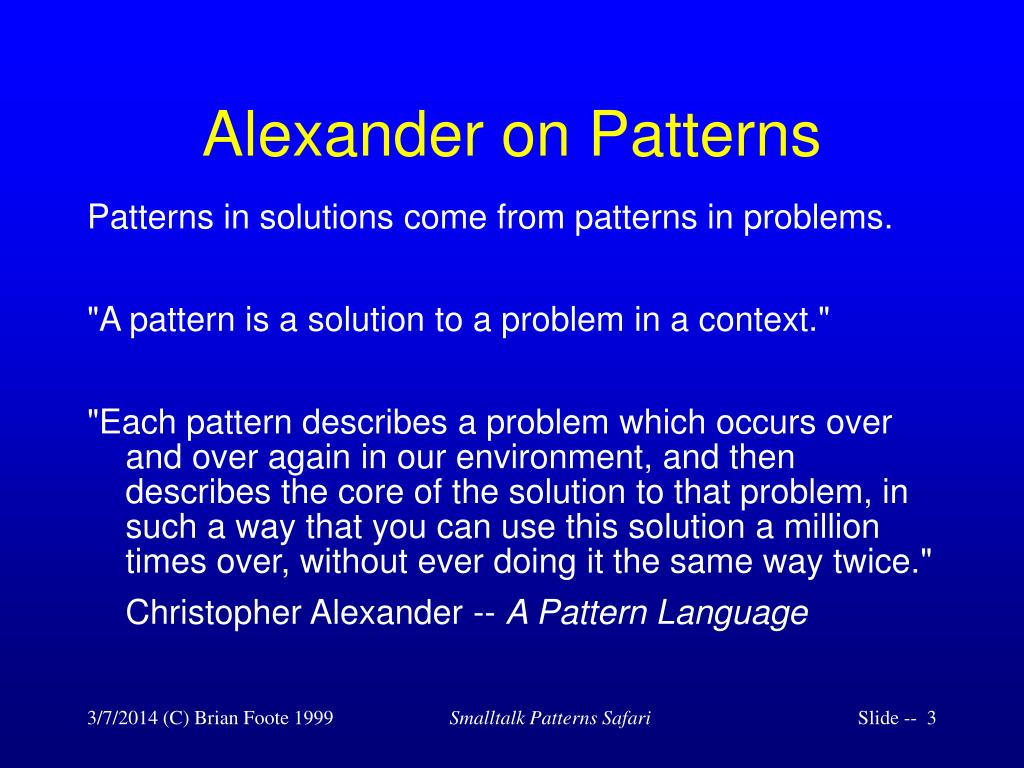 Alexander on Patterns