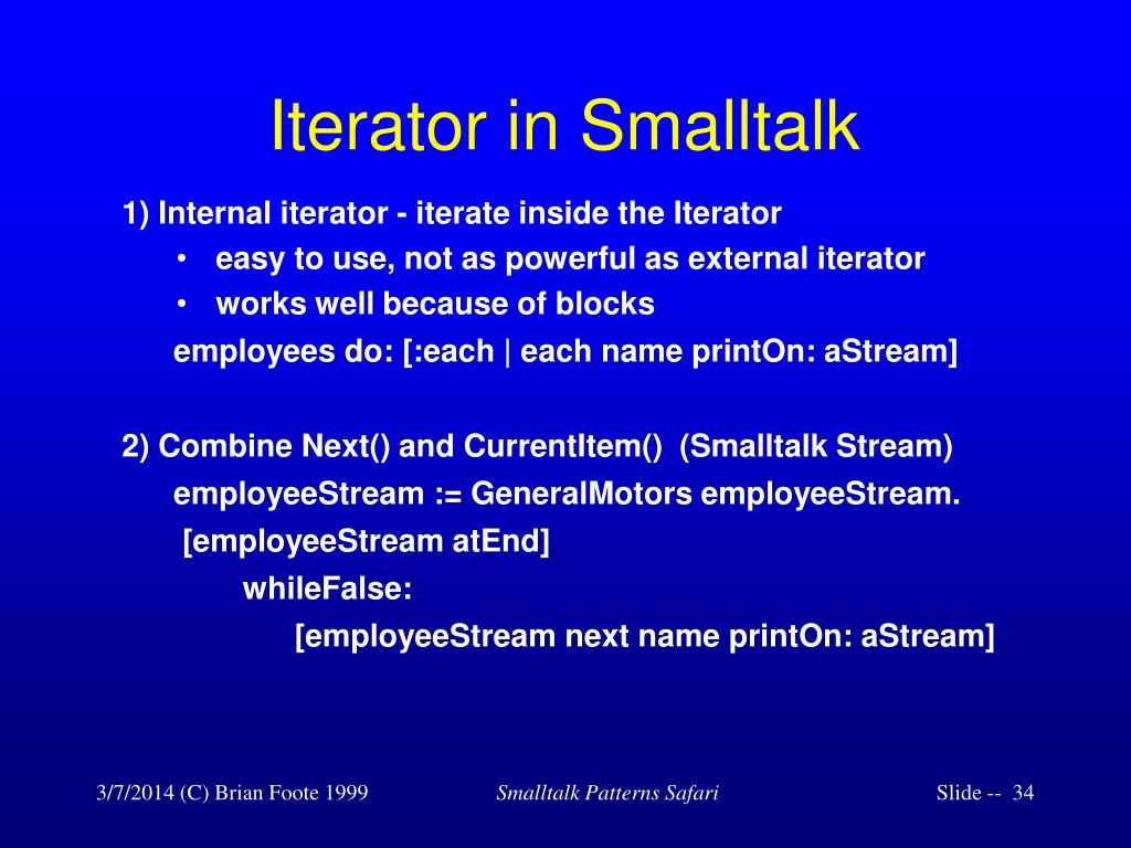 Iterator in Smalltalk
