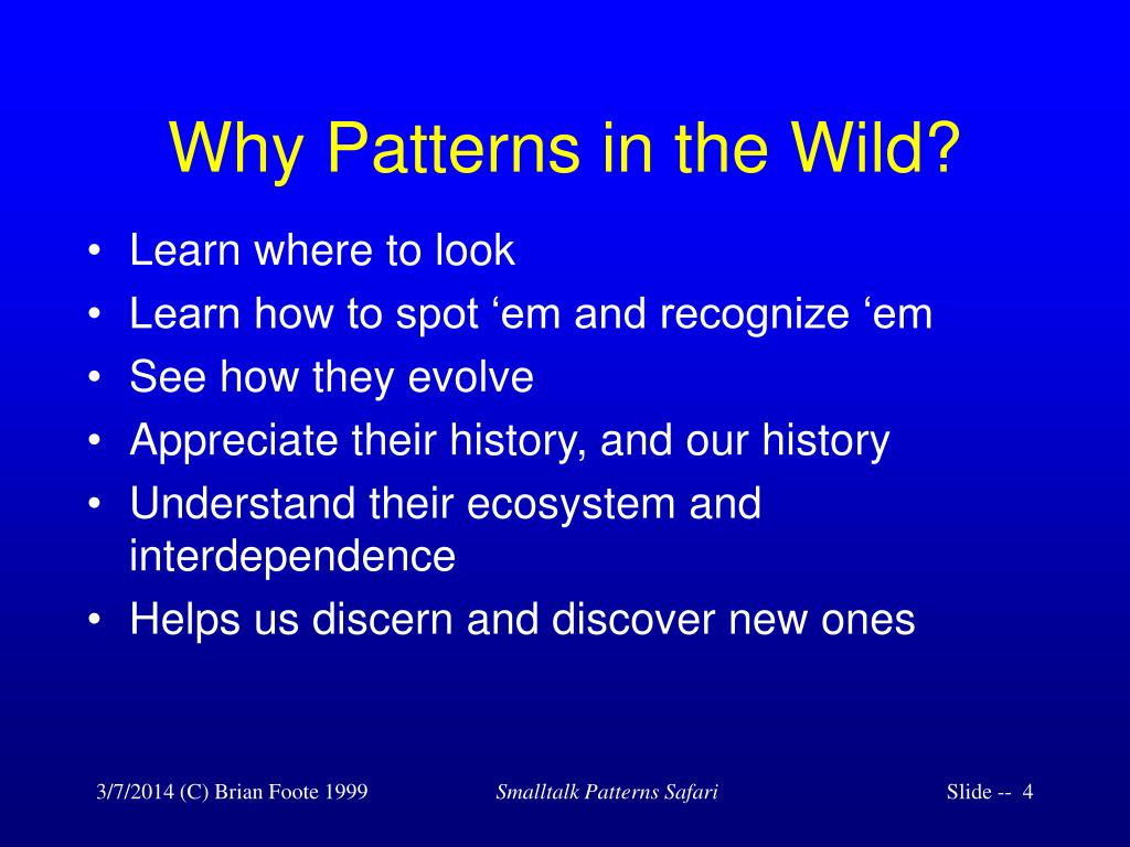 Why Patterns in the Wild?