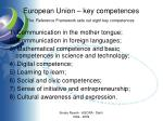 european union key competences the reference framework sets out eight key competences