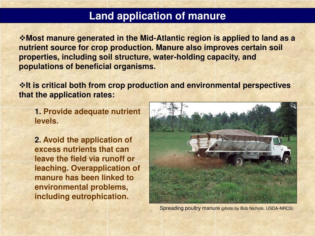 Land application of manure