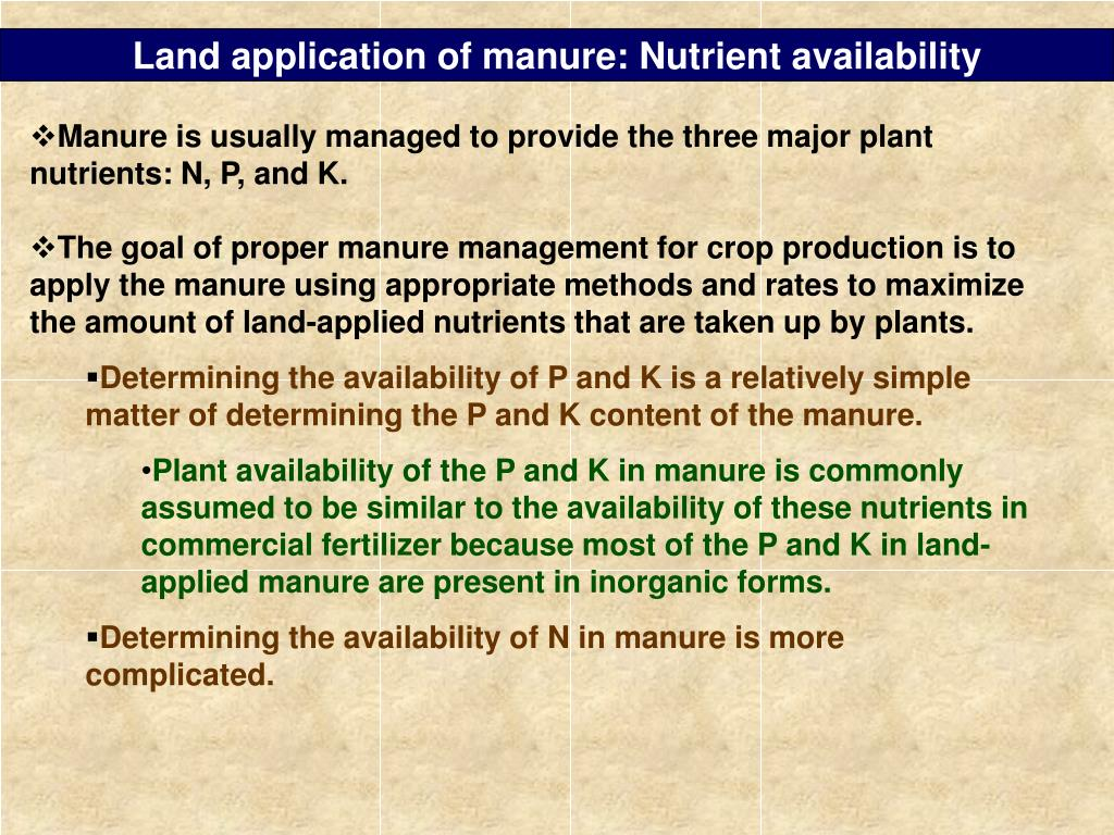 Land application of manure: Nutrient availability