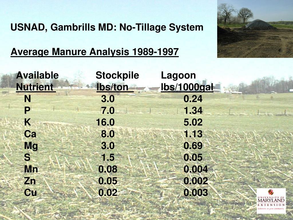 USNAD, Gambrills MD: No-Tillage System