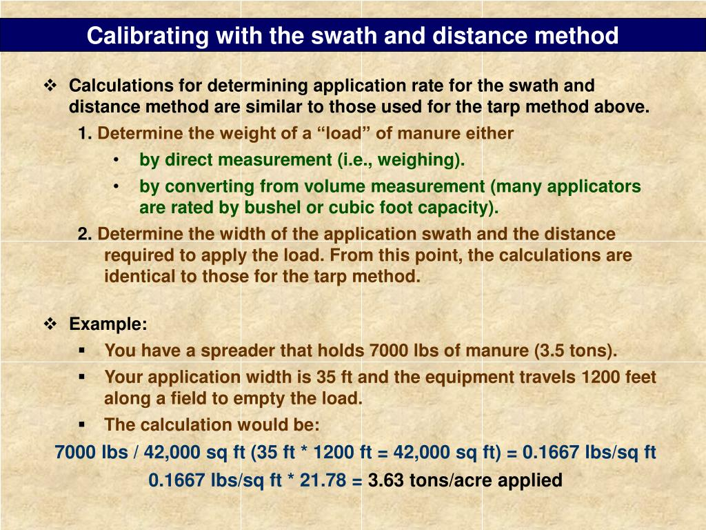 Calibrating with the swath and distance method