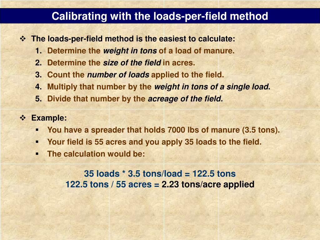 Calibrating with the loads-per-field method