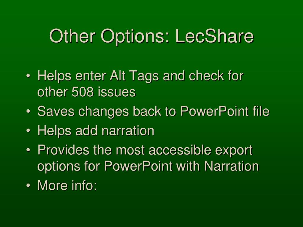 Other Options: LecShare