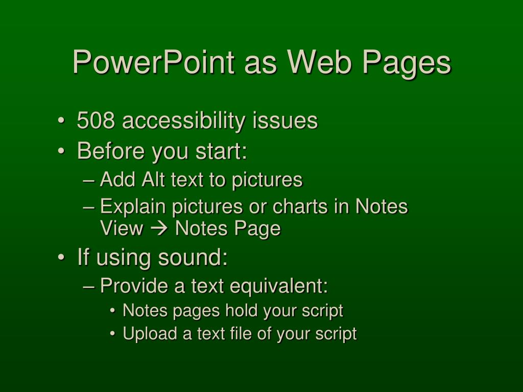 PowerPoint as Web Pages