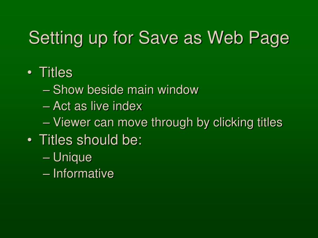 Setting up for Save as Web Page