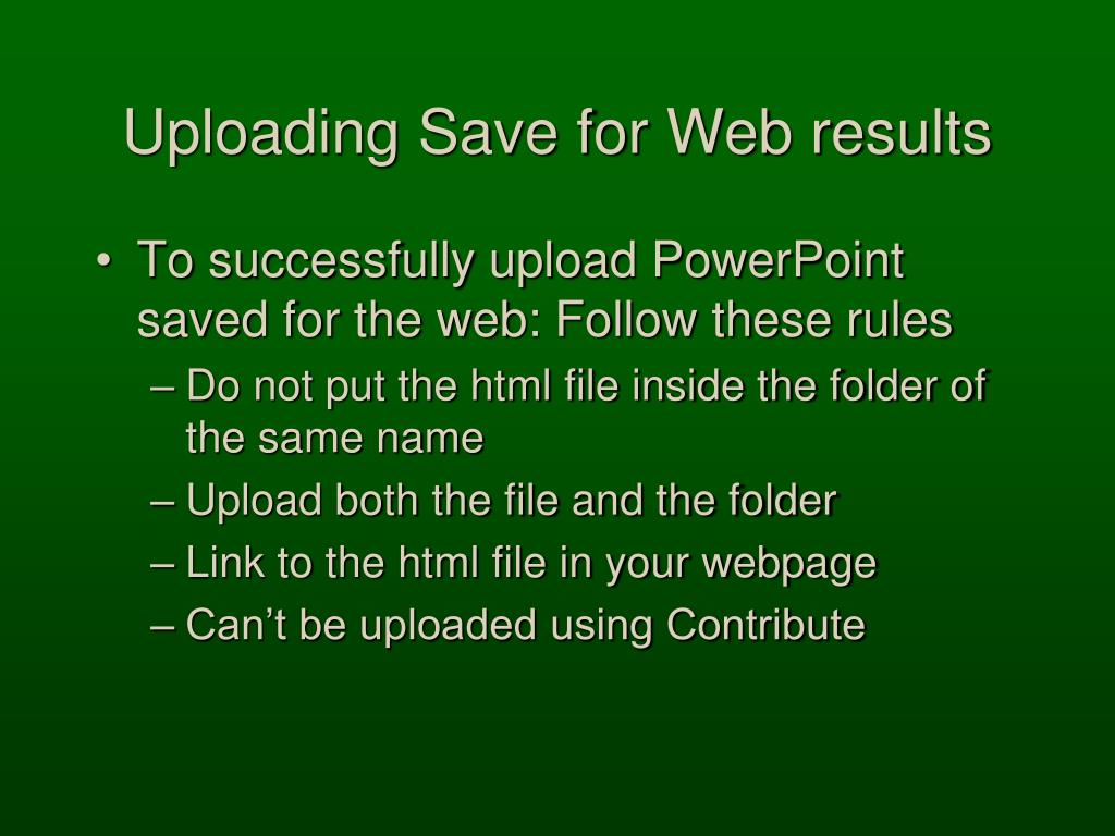 Uploading Save for Web results