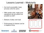 lessons learned modularity