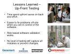 lessons learned up front testing