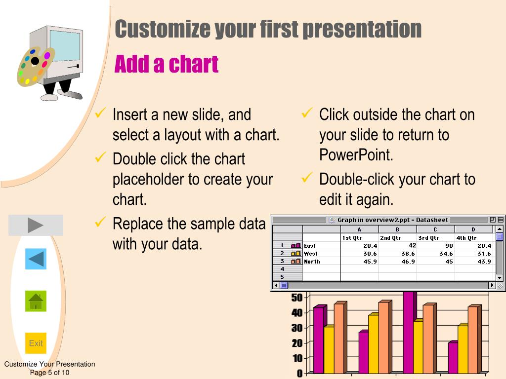 Insert a new slide, and select a layout with a chart.