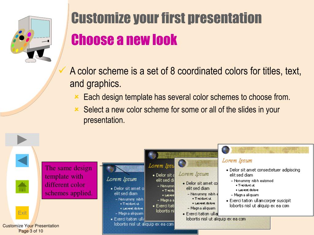 A color scheme is a set of 8 coordinated colors for titles, text, and graphics.