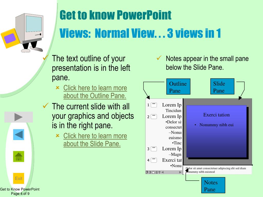 The text outline of your presentation is in the left pane.