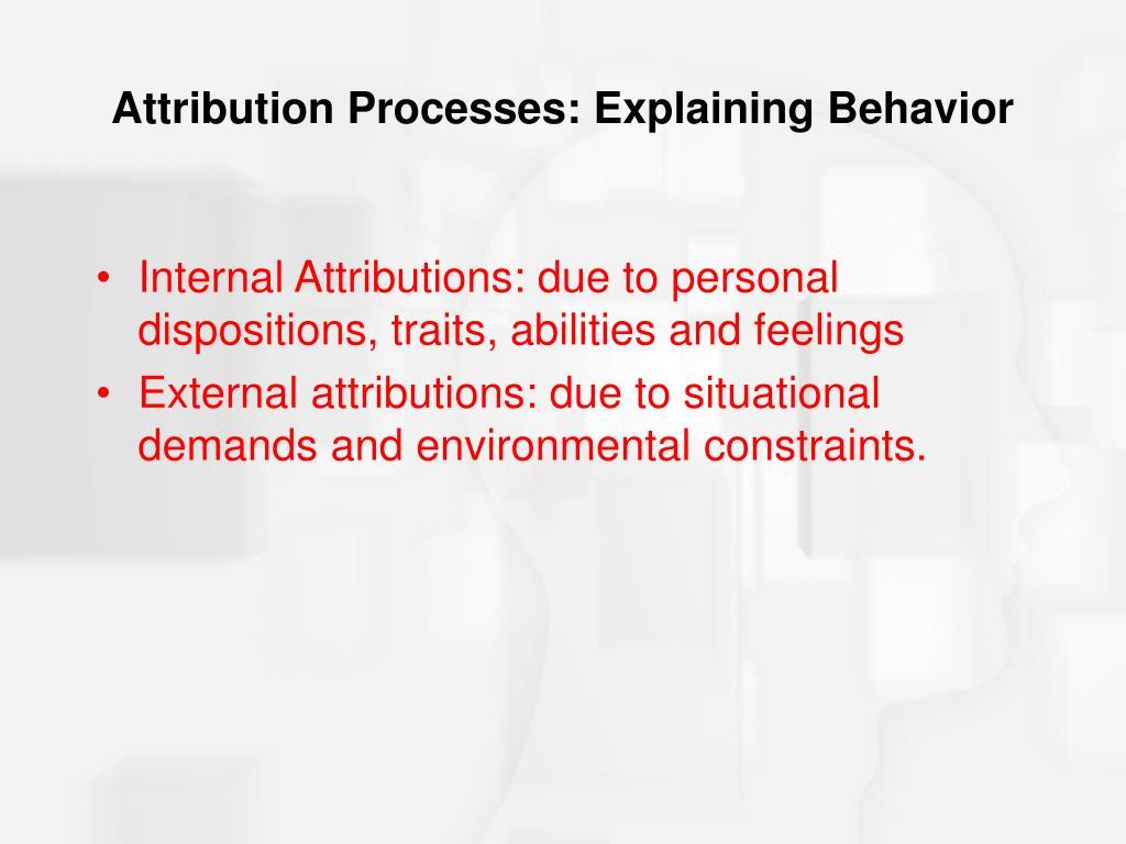 Attribution Processes: Explaining Behavior