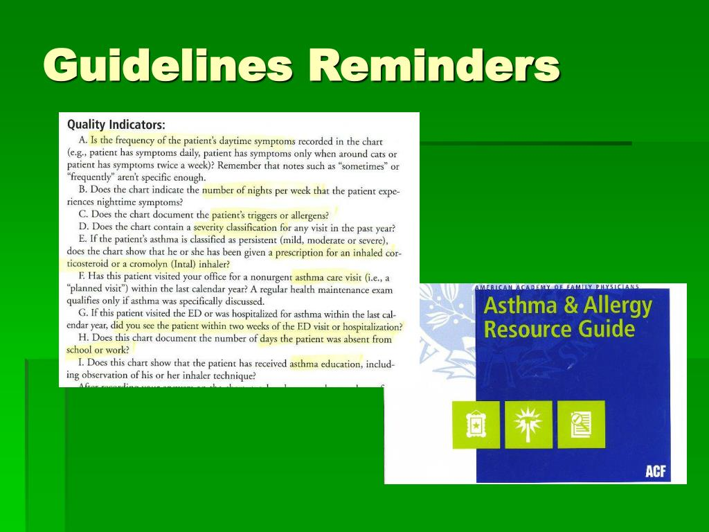 Guidelines Reminders