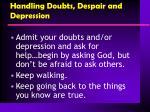 handling doubts despair and depression
