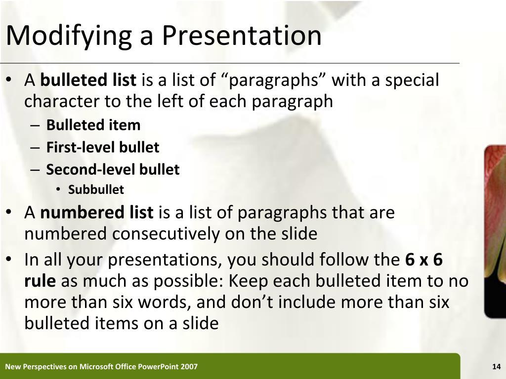 Modifying a Presentation
