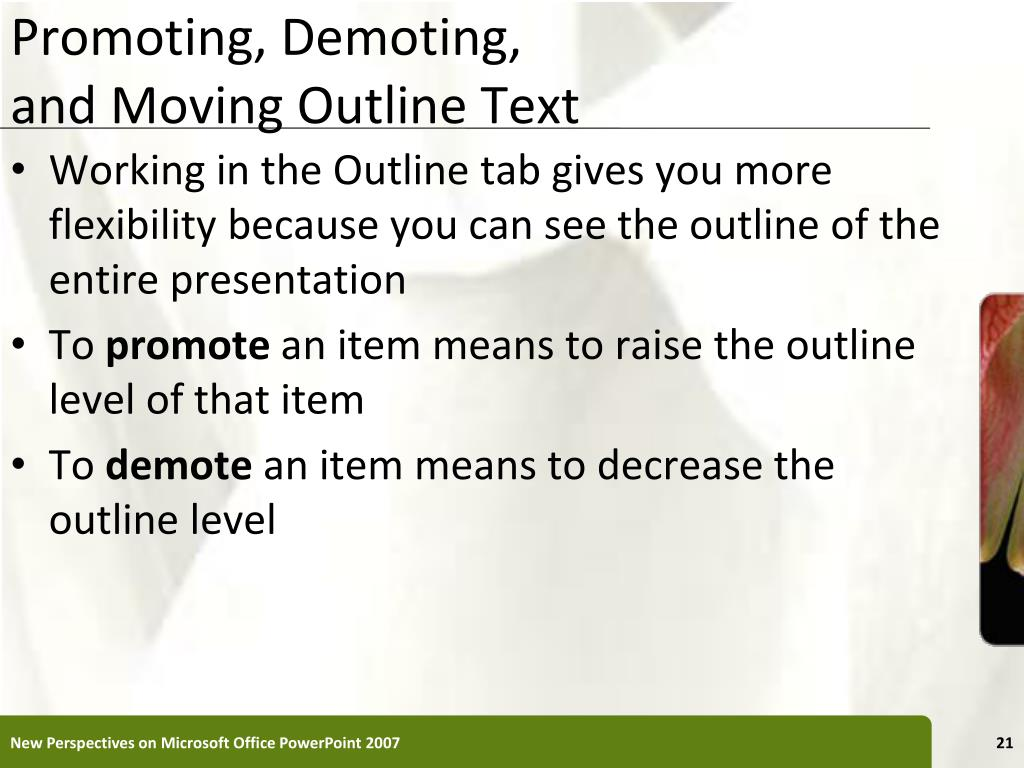Promoting, Demoting,
