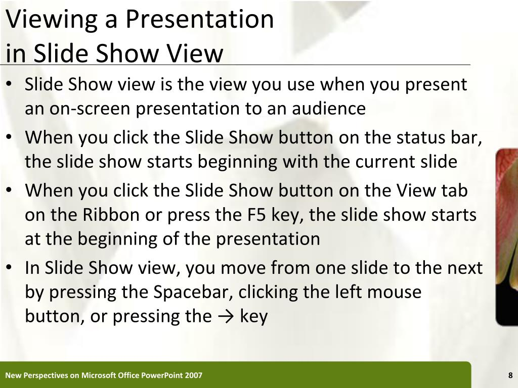 Viewing a Presentation