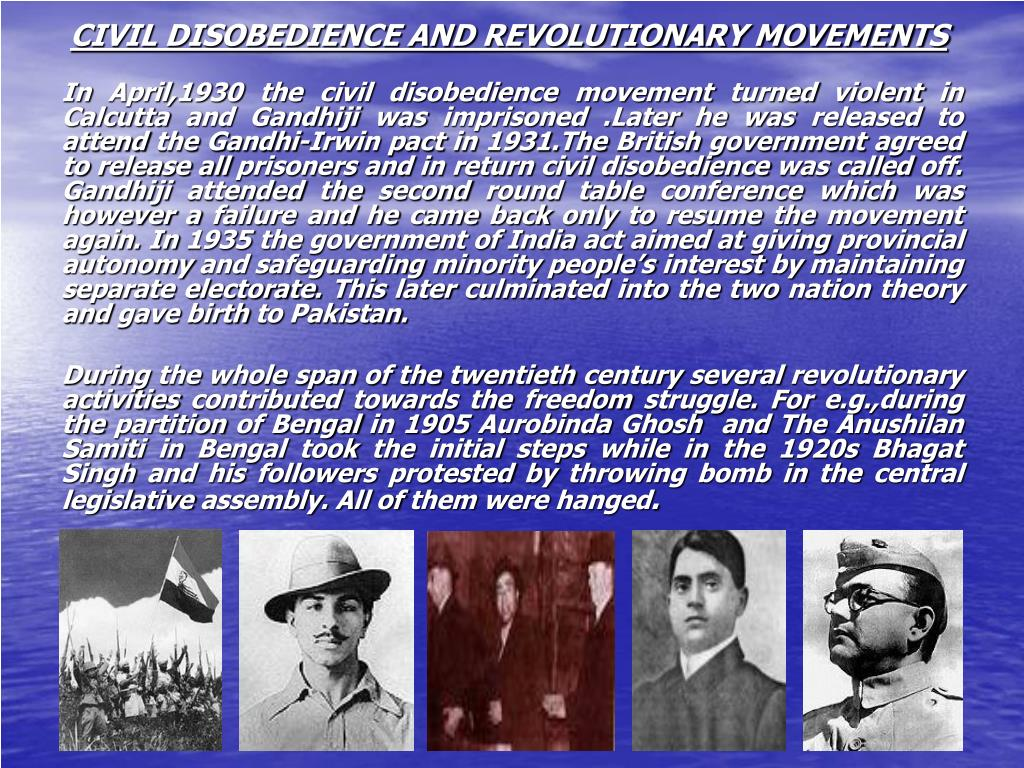 CIVIL DISOBEDIENCE AND REVOLUTIONARY MOVEMENTS