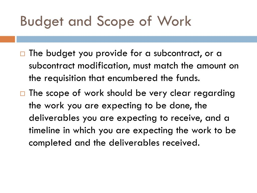 Budget and Scope of Work