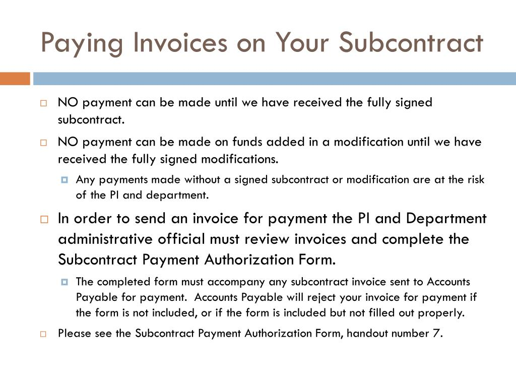 Paying Invoices on Your Subcontract