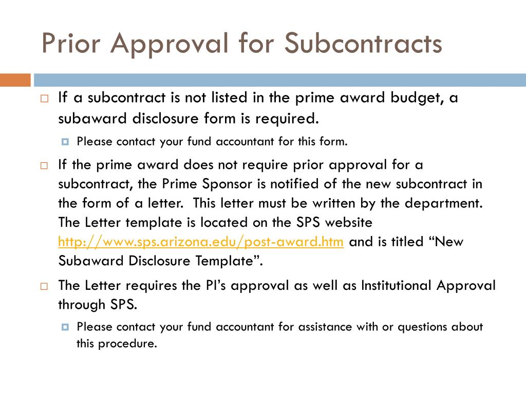 Prior Approval for Subcontracts
