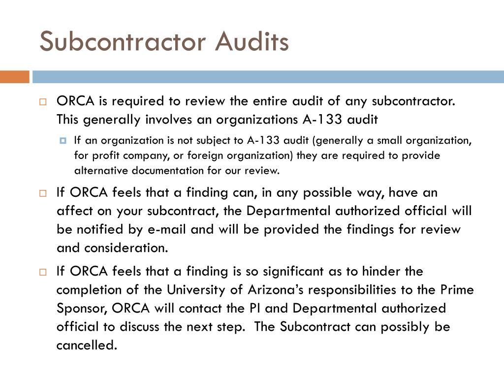 Subcontractor Audits